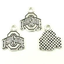 10Pcs Retro Silver Tone Ohiostate Sign Pendants Breloque Jewelry DIY Making Charms 20mm