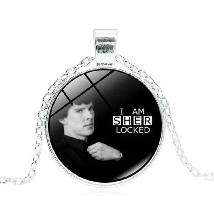 , Ręcznie robione, Vintage, SHERLOCK HOLMES wisiorek szklany naszyjnik Fantasy srebrny kolorowy naszyjnik dla kobiet mężczyzn biżuteria artystyczna nowy rok prezent