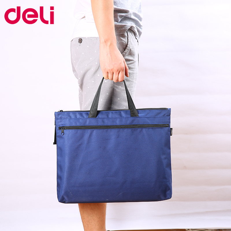 Deli 1pcs Portable File Bag A4 Data Storage Bag Zipper Briefcase Canvas Multi Layer Business Bag File Bag