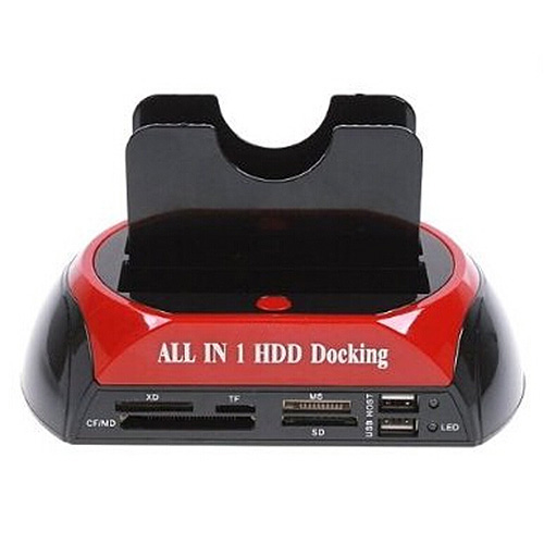 YOC Hot HDD SATA IDE All-In-One Dual HDD Docking Station Base With USB Hub red black