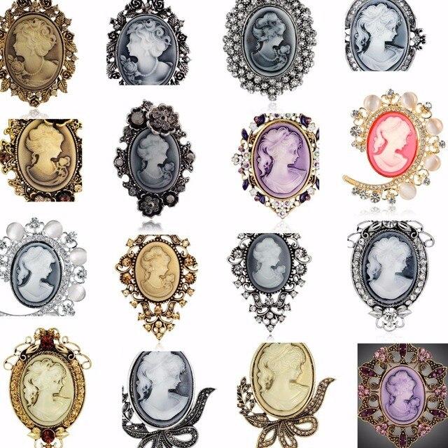 Broches Vintage para Mulheres Elegante cor Prata Na Moda Beleza Cabeça Cameo Broche de Cristal Austria