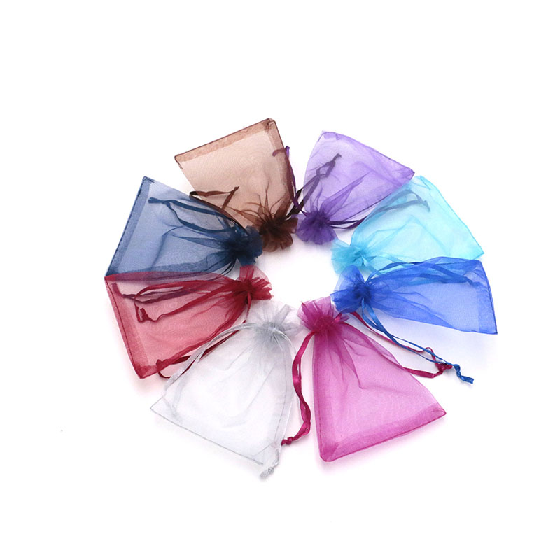 Wholesale Jewelry Bags MIXED Organza Jewelry Wedding Party Gift Bags Purple Blue Pink Yellow Black With Drawstring 7 9cm 500pcs in Jewelry Packaging Display from Jewelry Accessories