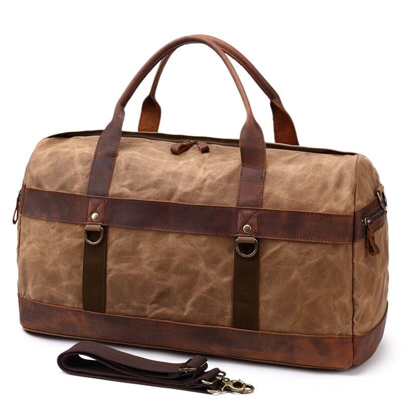 YUPINXUAN Oil Wax Canvas Leather Travel Handbags Mens Vintage Large  Capacity Waterproof Duffle bags Men Retro 87975415ce36c