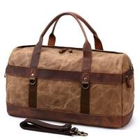 YUPINXUAN Oil Wax Canvas Leather Travel Handbags Mens Vintage Large Capacity Waterproof Duffle bags Men Retro Hand Luggages Big