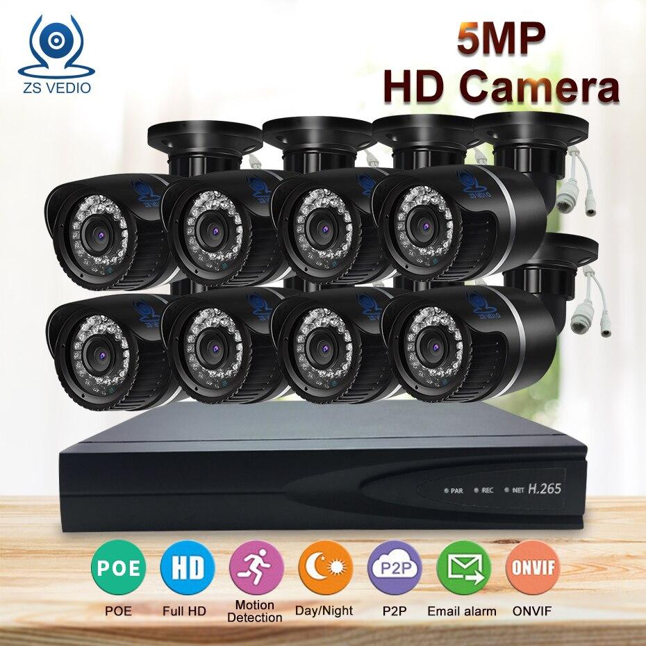 ZSVEDIO наблюдения Системы HD объектив камеры Камера Системы открытый 5MP 8CH POE HDD обнаружения видеонаблюдения IP пуля веб-камера