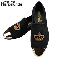 Harpelunde  Mens Formal Shoes Bullion Black Velvet Loafers With Copper Cap Toe
