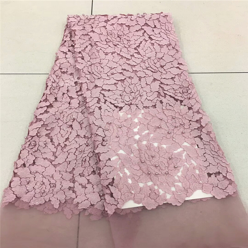 Madison Pink Nigerian French Lace Fabrics 2018 African ...