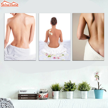 ShineHome-3pcs SPA Salon on Canvas Printed Wall Painting Yoga Body Massage Wall