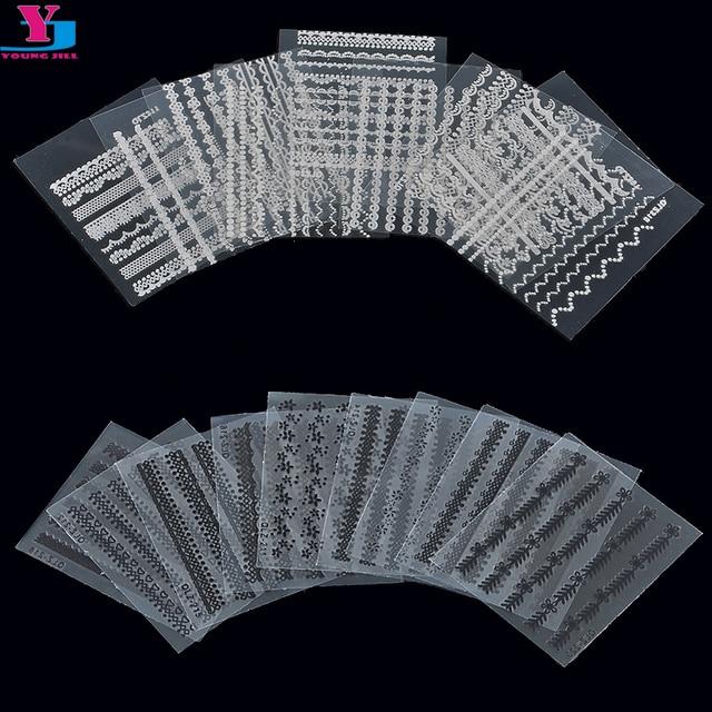5 pack (30 hojas/paquete) Blanco/Negro de Encaje de La Moda Etiquetas Engomadas Del Clavo 3D Del Clavo de DIY Art Decals Manicura de uñas Envuelve Decoración Herramientas de Peinado