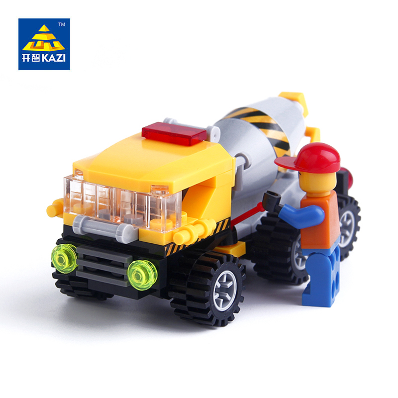 KAZI City Engineer Mixer Truck Model Mini Building Blocks Sets Bricks Brinquedos Educational Toys for Children 6+Ages 6112 lepin 631pcs city police station kazi 6725 building blocks action figure baby toys children building bricks brinquedos kid gift