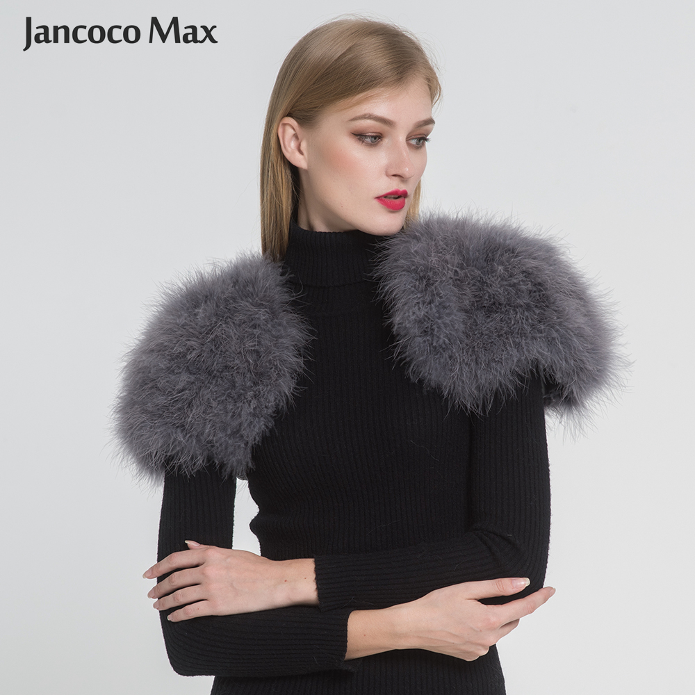 Jancoco Max 2019 Real Fur Cape Shrug Kvinder Ægte Struve Fjær Fur Shawl Poncho Fashion Hot Sale One Size S1264