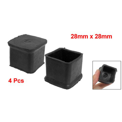 Boutique 4Pcs Black Square Chair Table Leg Rubber Foot Covers Protectors 28mm x 28mm