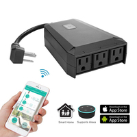 Smart Wifi Extension Socket IP44 Outdoor Use Remote Controlled by App in your Smartphone 3 US AC Power outputs Works with Alexa