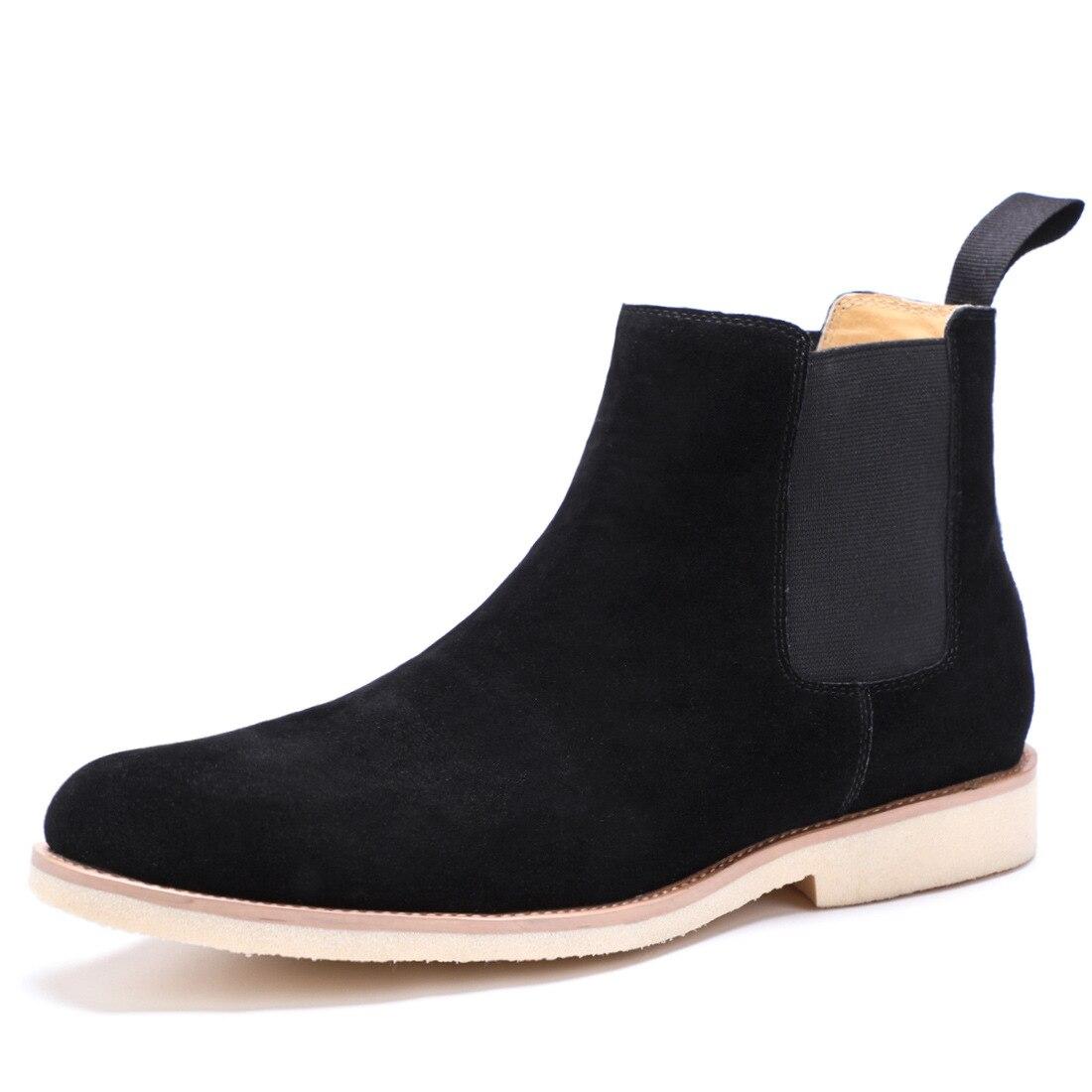 QYFCIOUFU 2019 NIEUWE Mannen Chelsea Laarzen Mode Suède Enkellaarsjes Mode mannen Merk Echt Lederen Slip Ons Man Werk laarzen Schoenen - 2