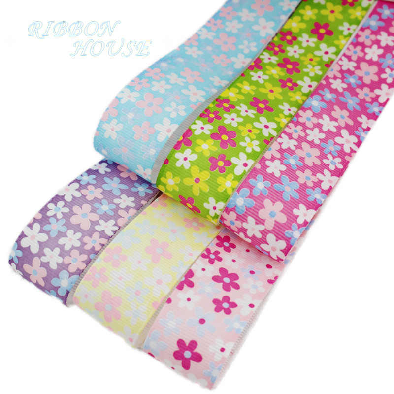 (6 colors mix) 1'' (25mm) Lovely Floral grosgrain ribbon printed series ribbon gift Wrapping ribbons