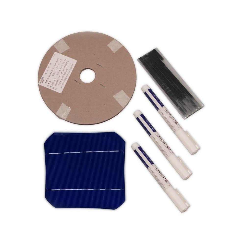 DIY Solar Panel Kit 160W 60Pcs Mono Solar Cell 5x5 With 60M Tabbing Wire 6M Busbar