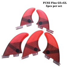 Surf FCS2 G5+GL fins Black/Blue/Red/Green color Honeycomb Fibreglass Surfboard FCSII fin Tri-quad set