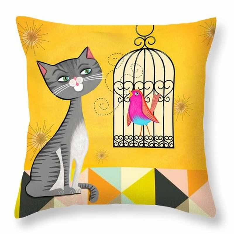 แฟชั่นแมวการ์ตูนใหม่พิมพ์โพลีเอสเตอร์ปลอกหมอนบ้านโซฟาเบาะ office เบาะรถเอวหมอน cover cushion cover