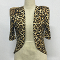 New Spring Summer Sexy Leopard Jacket Women 2017 Fashion Slim Bodycon Rivet Short Coats Jackets Club Clothes Chaquetas Mujer
