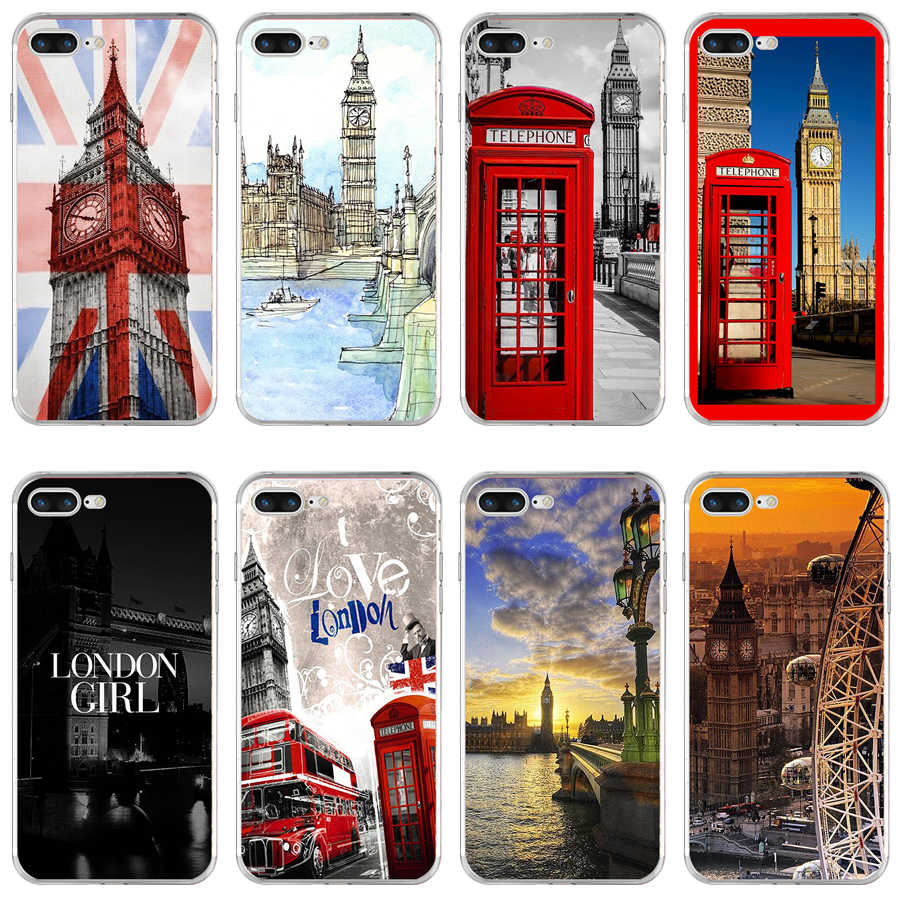 35H London Red Telephone Big Ben Soft TPU Silicone Cover Case For Apple iPhone  6 6s 7 8 plus Case
