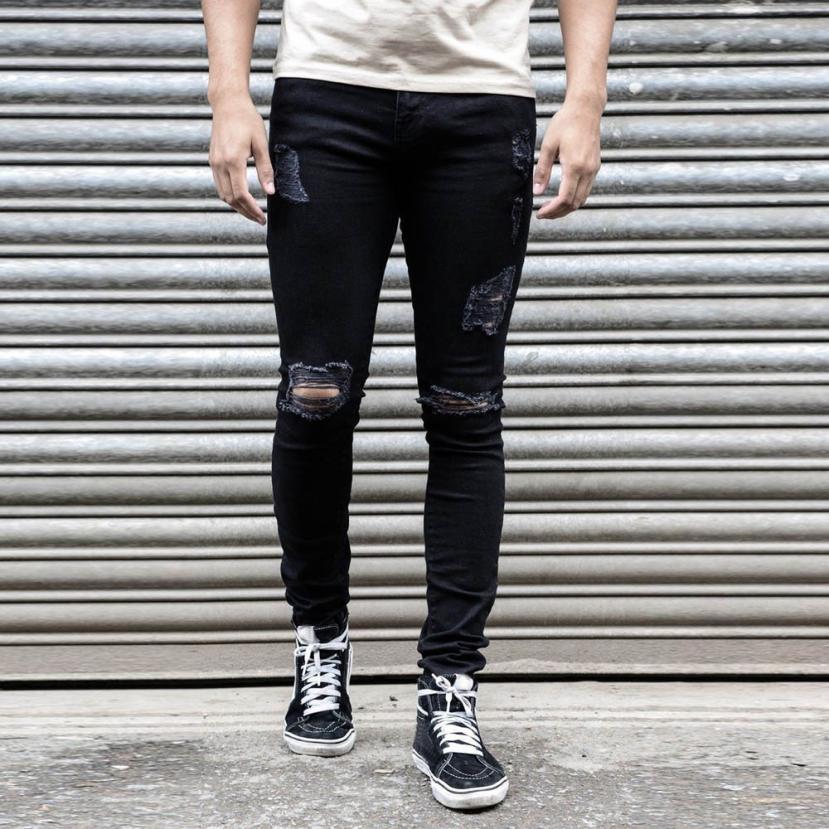 9fd3944d8 US $14.45 26% OFF|Mens Super Skinny Stretch jean homme Denim Biker skinny  jeans men jeans skinny homens Destroyed Taped Slim Fit Pants 2018 #30-in ...