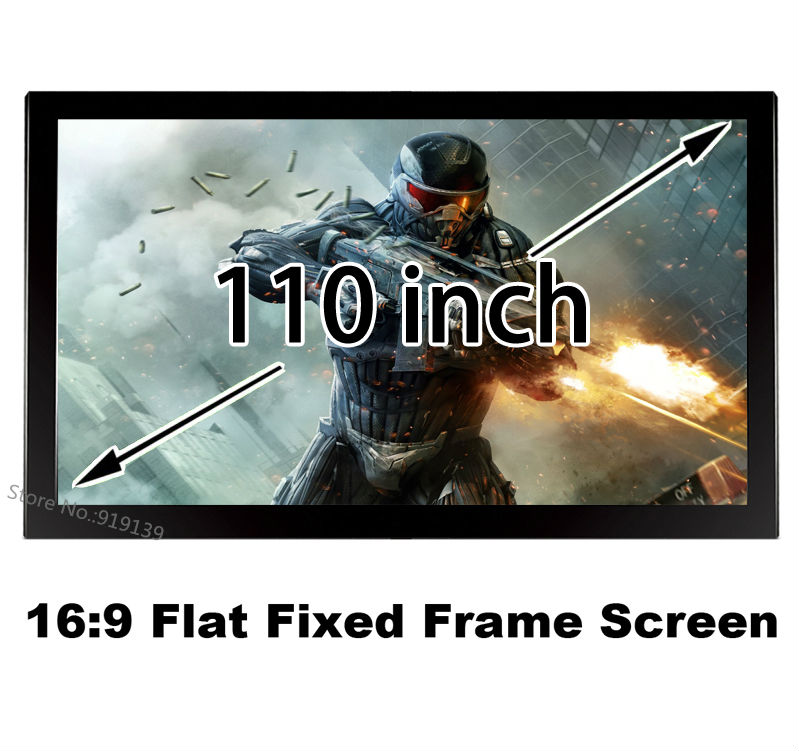 AliExpress Top Rate Seller 3D Projection Screen 110 Inch 80mm Aluminum Fixed Frame Projector Screens 16:9 Suit For Home Theater 150 inch 16 9 fixed frame home theater projection projector screen 3 15 wide black velvet coated frames wall mount screens