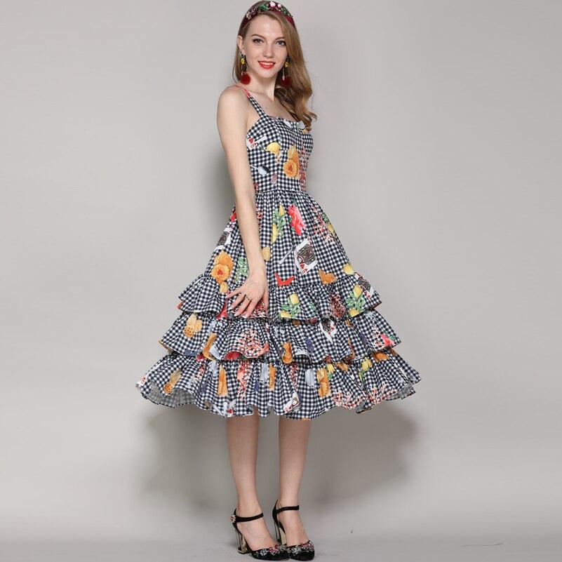 2019 new fashion designer runway summer dress Women s Spaghetti Strap Plaid Pattern print Vintage Cascading