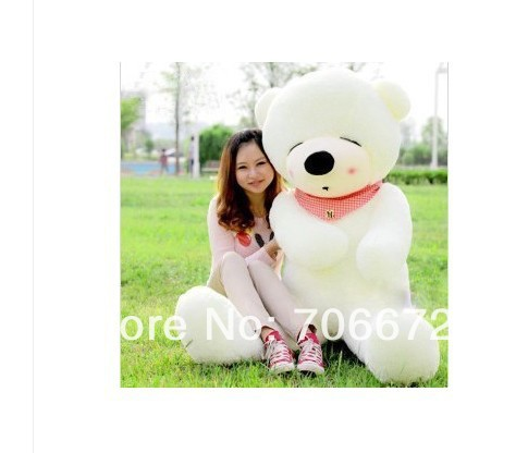 New stuffed white squint-eyes teddy bear Plush 240 cm Doll 94 inch Toy gift wb8300 xiaying smile summer new woman sandals platform women pumps buckle strap high square heel fashion casual flock lady women shoes page 9