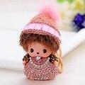 7 Colors Cute Crystal Nipple Baby Monchichi Keychain Sleutelhanger Dolls Porte Cle Strass Women llaveros Key Ring For Bag Charm