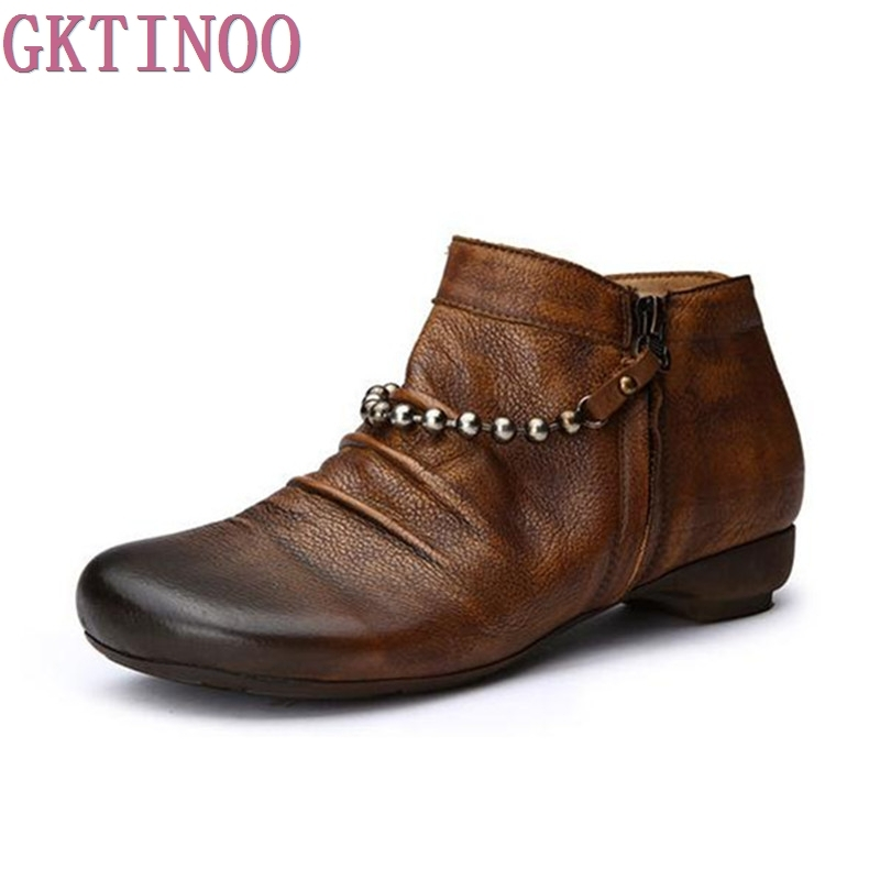Fashion Martin Boots Genuine Leather Ankle Shoes Vintage Casual Shoes Brand Design Retro Handmade Women's Boots women led light shoes casual shoes led luminous boots unisex genuine leather ankle boots women usb charging martin boots 35 46