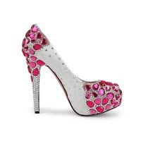 Новый Свадебные туфли со стразами с очень высокий каблук женская мода Rose Red Diamond обувь на платформе обувь для торжеств, свадебные туфли лодоч
