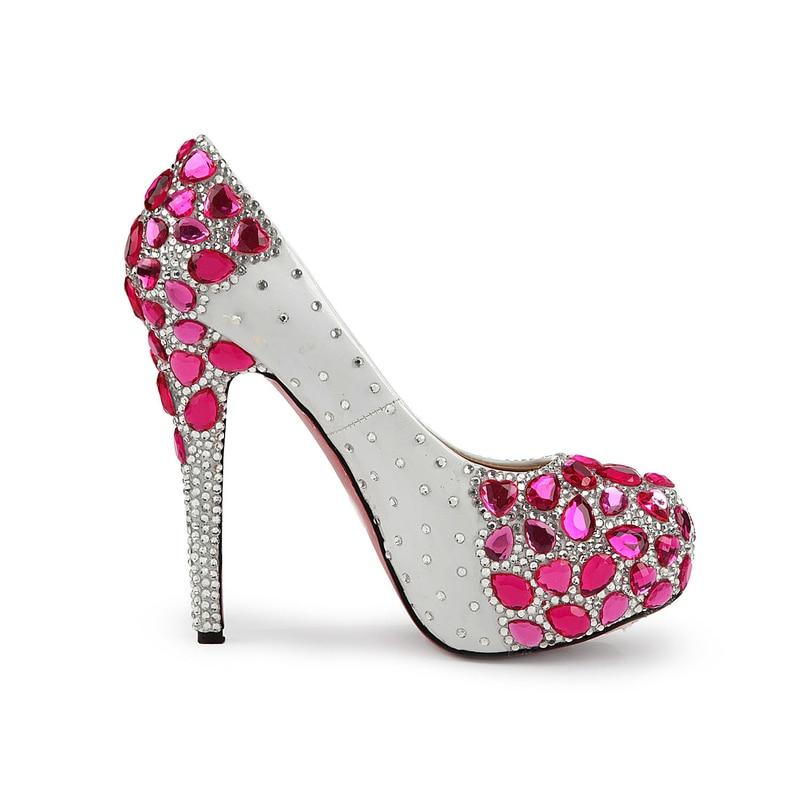 Femenina Tacones Plataforma Bombas Rojo Moda Boda Novia Diamante La De Con Solos Altos Del Cristal Banquete Rosa Nuevos Super Zapatos w6qYvv