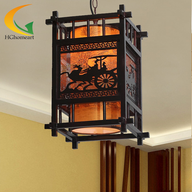 Chinese style antique lamp single-head chandeliers restaurant creative Wooden carvings chandelier Led aisle lights e27 chinese style antique wooden sheepskin chandelier lamp three classical teahouse atmosphere restaurant head send bless