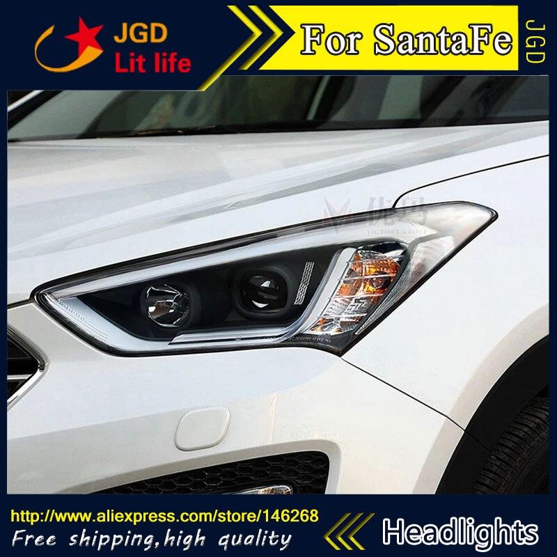 Free shipping ! Car styling LED HID Rio LED headlights Head Lamp case for Hyundai Santafe Santa fe Bi-Xenon Lens low beam