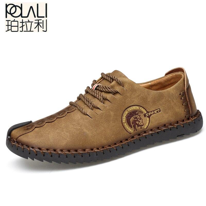 Loafers Men Shoes Moccasins Big-Size Quality Flats Comfortable Split 38-48 POLALI