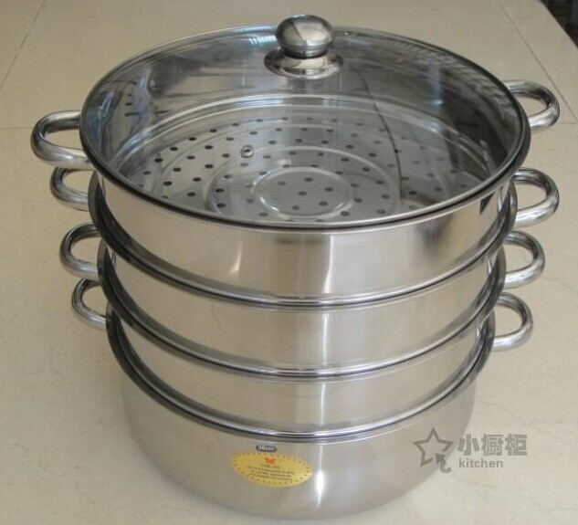 Free Shipping 38CM 40cm Large Size Stainless Steel Steamer Pot 4 Layer Inox Multi Function Pot