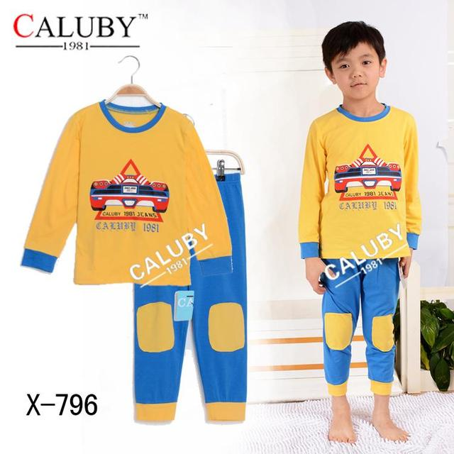 New 2016 Boys Pajamas Cartoon Print Children Tops Pants Clothing Set Cotton Toddler Kids Pijama Nightwear Outfit Clothes Suit