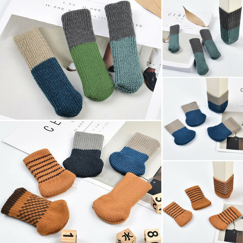 4pc/Set Table Chair Foot Leg Knit Socks Chair Leg Cover Protector Socks Sleeve Protect Floor Pads Floor Protector Home Decor