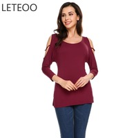 LETEOO Plus Size Cold Shoulder Tops Women Korean T Shirt 3 4 Batwing Sleeve O Neck