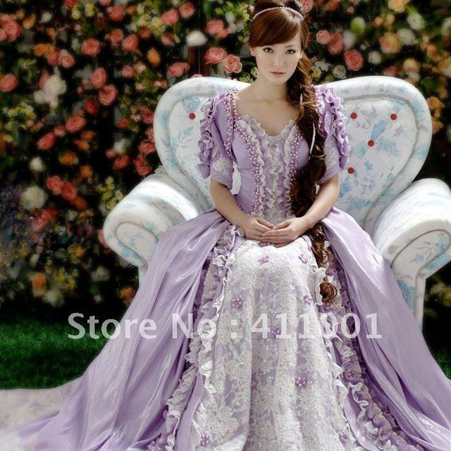 Light Purple Floor-Length Lace Pearl Voile Victorian Princess BALL GOWN Marie Antoinette Gothic Wedding Dress with Jacket/bolero