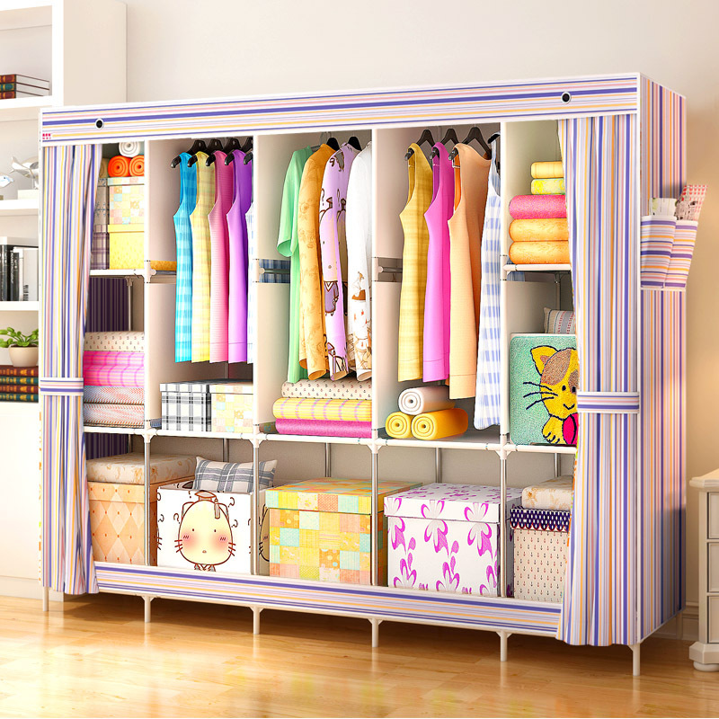 Actionclub Non-woven Cloth Wardrobe Steel Pipe Thicken Reinforcement Wardrobe Closet DIY Assembly Fabric Storage Cabinet