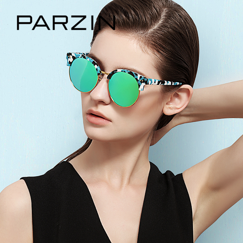 PARZIN New Fashion Brand Women Polarized sunglasses Female top design round box
