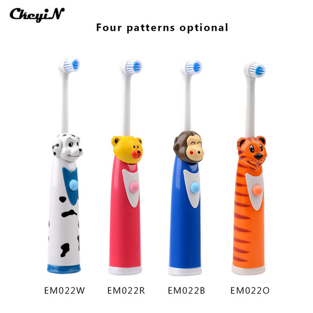 CkeyiN 4Pcs Cartoon Children Kids Electric Toothbrush Sets With 8 Brush Head Rotation Battery Operated Teeth Brush Oral Care