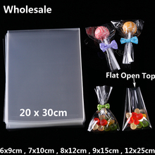 Wholesale Clear Flat Open Top Lollipop Cake Cookie Packaging Candy Bag Party Kids DIY OPP Poly Gift Bags Pouch Small Plastic