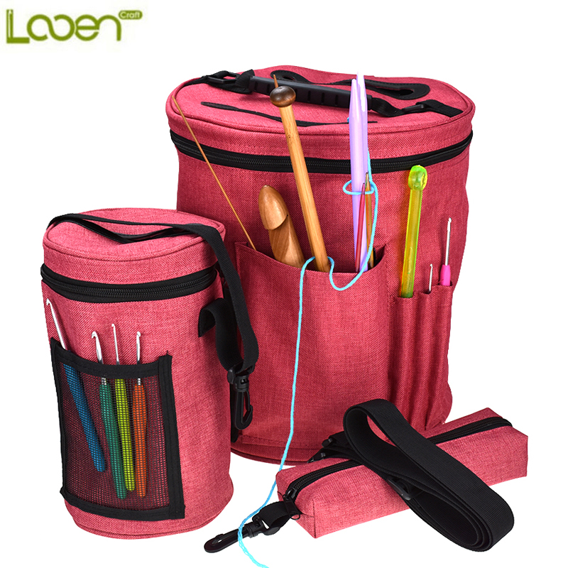 Looen Brand 3pcs Empty Yarn Storage Bag Yarn Organizer For All Crochet and Kiniting Accessories For Women Mom DIY Sewing Kit Bag