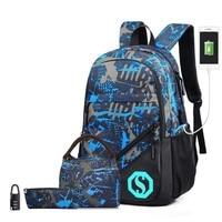4pcs Set Camouflage School Backpack for Boys Teens Bookbag Travel Daypack Kids Girls Children School Bag