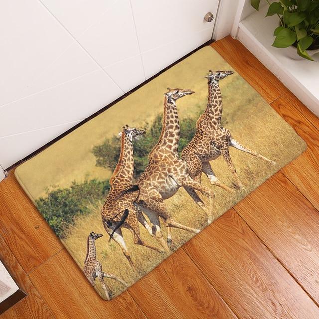 New Deer Doormat Carpets Leopard Animal Print Mats Floor Kitchen Bathroom Rugs 40x60or50x80cm