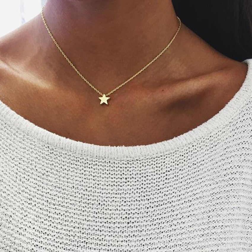 2017 or chaîne étoile lune collier ras du cou pour les femmes charme Chocker colliers et pendentifs collier ras du cou femme