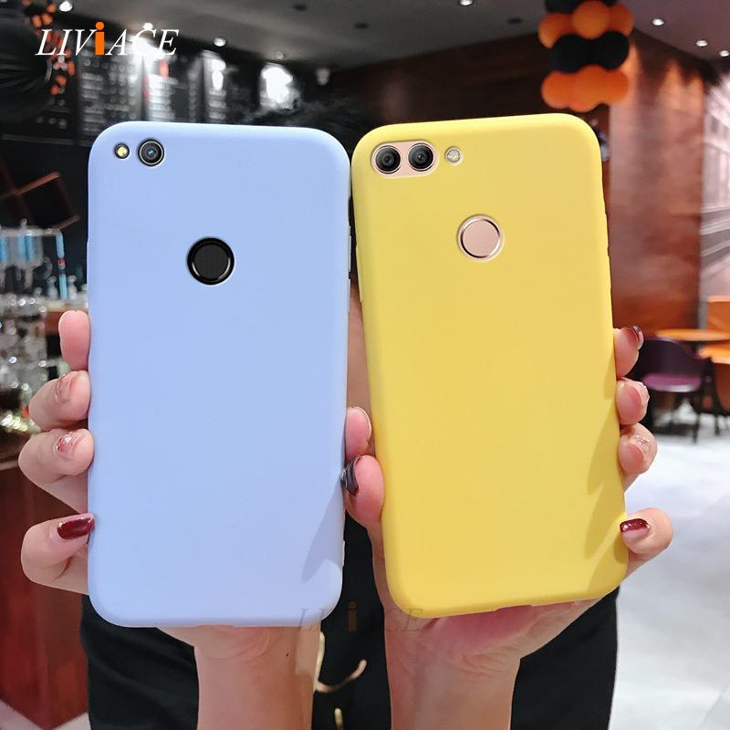 matte silicone phone case on for huawei P smart plus p8 p9 p10 lite 2017 2018 2019 candy color soft tpu back cover fundas coque(China)