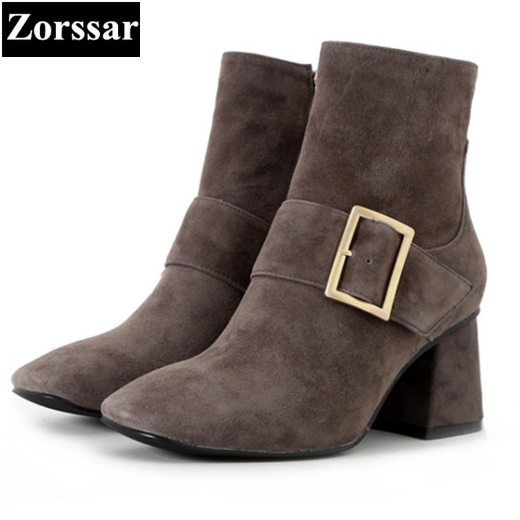 {Zorssar} 2017 NEW winter short fur Womens Boots fashion buckle Kid suede High heels ankle boots Square Toe women shoes zorssar brands 2018 new arrival fashion women shoes thick heel zipper ankle chelsea boots square toe high heels womens boots